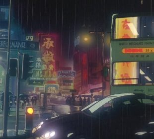 A close up of a busy city street